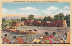 Nevada Overton Replica Of Prehistoric Lost Indian Ruins Overton Museum Curteich