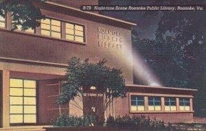 Night Time Scene Roanoke Public Library Roanoke Virginia 1939