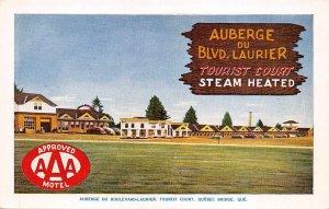 Auberge Du Blvd Laurier Tourist Court Quebec Canada Roadside Postcard ca 1950s