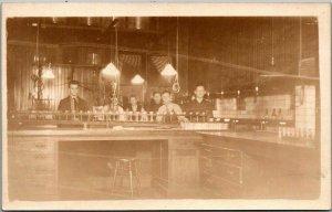 Vintage RPPC Real Photo Postcard CLASSROOM / Science Lab Interior School c1920s