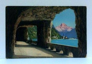 Switzerland Axenstrasse Motorway Fluelen Bristenstock Mountain Vintage Postcard