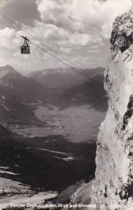 RP: Tiroler Zugspitzbahn , Blick auf Ehrwald , Austria , PU-1953