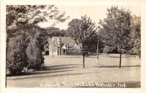 B85/ Lake Webster Indiana In Real Photo RPPC Postcard 1944 Epworth Forest