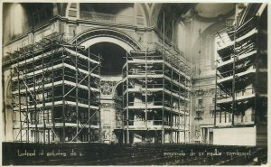 London in splints propping up st paul`s cathedral rppc 1928