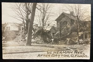 Mint USA RPPC Real Picture Postcard Dayton Ohio Herman Ave After Flood
