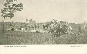 Pine Camp, NY Just arrived in camp Men Horses Tents Early 1900s Photo Postcard