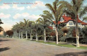 Santa Barbara California~Residence District~Palm Trees by Homes~1910 Postcard