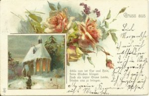 Snow Covered Church Roof and Bouquet of  Blush Pink Roses Traditional Christmas