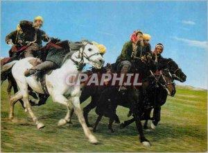 Modern Postcard the Afghan Buzkashi Game in Progress Horses