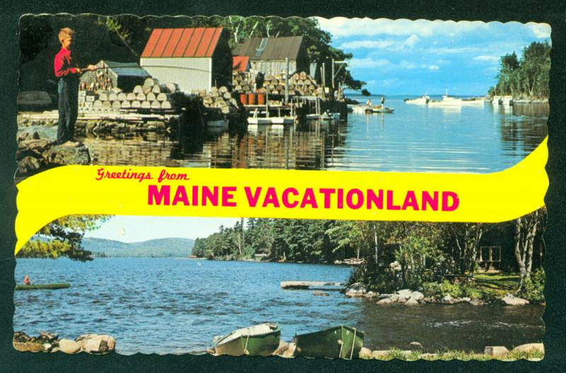MAINE Greetings Banner BACK COVE New Harbor Long Lake View Postcard
