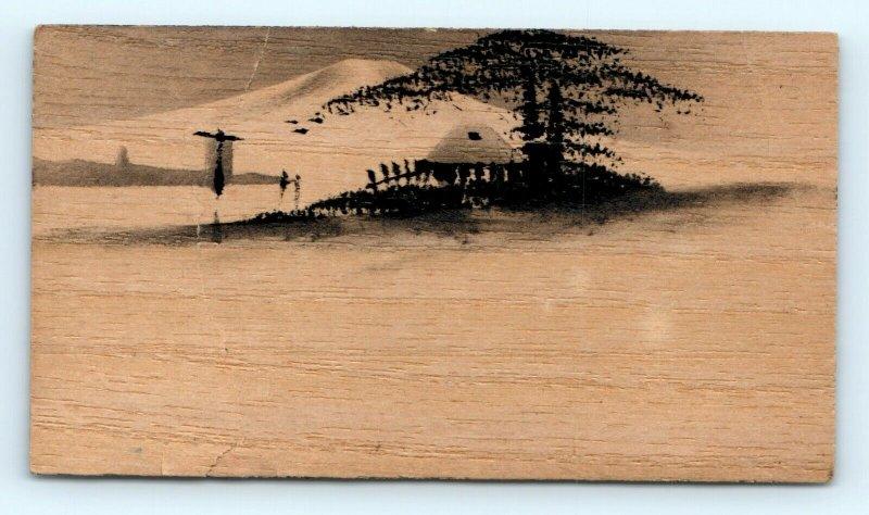 Handmade Balsa Wood Stock Trade Cards Hand Drawn Color LOT of 6 Japan China C13