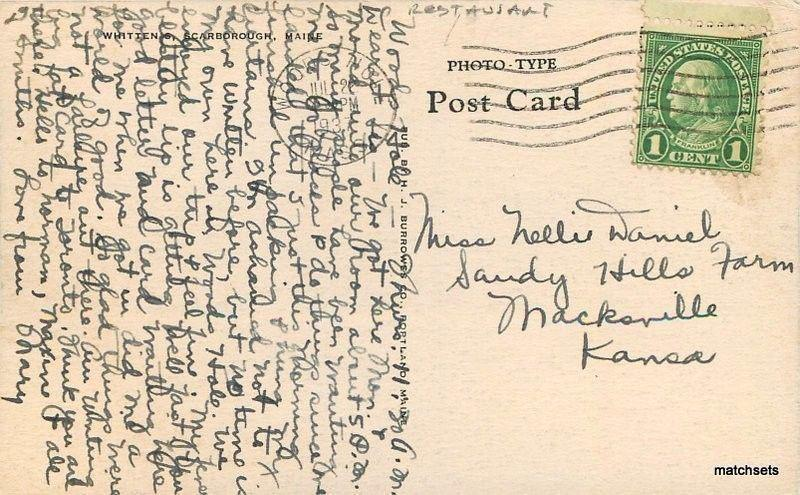 1937 Scarborough Maine Whitten's Burrows postcard 3291