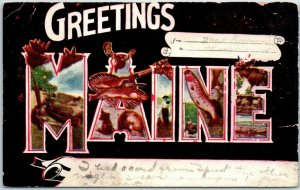 1910 GREETINGS FROM MAINE Large Letter Postcard Wildlife Animal Scenes w/ Cancel