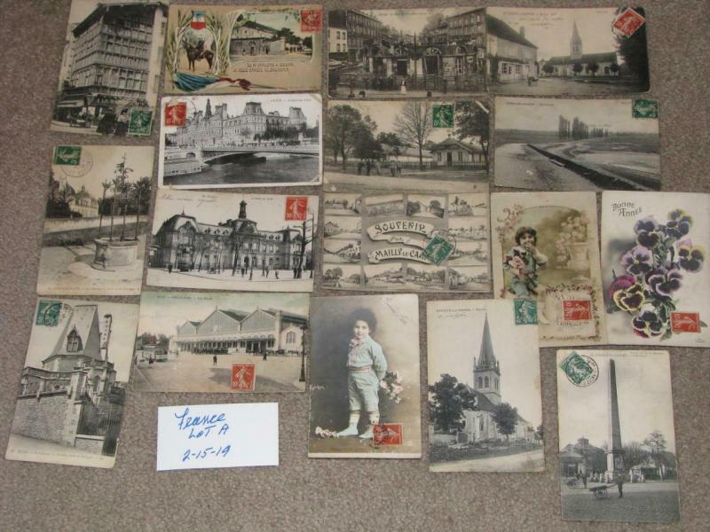 17 different postcards from France, most with stamps affixed on the front, lot A