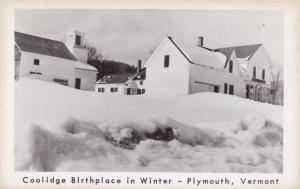 RPPC Birthplace of President Calvin Coolidge in Winter - Plymouth VT, Vermont