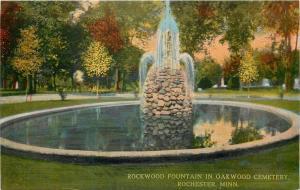 Rochester Minnesota~Rockwood Fountain in Oakwood Cemetery~Tombstones~1910