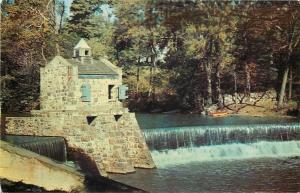 Morristown New Jersey~Speedwell Lake~Dam & Spillway~1950s Postcard