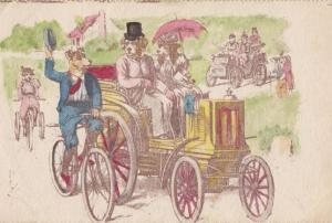 Dog Cycliist Race With Old Transportation Dogs Car Antique Comic Humour Postcard