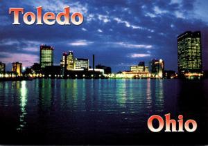 Ohio Toledo Downtown Skyline At Night