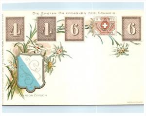 Stamp Card,   Die Ersten Briefmarken der Schweiz , Canton Zurich