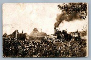 TRACTOR on FARM HARVESTING ANTIQUE REAL PHOTO POSTCARD RPPC