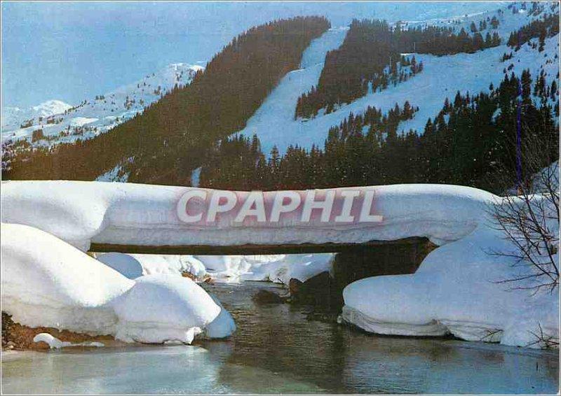 Postcard Modern 202 winter in the snow bridge alps