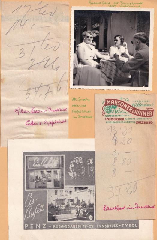 Innsbruck Hotel Breakfast Photo Receipt 1950s 5x Ephemera