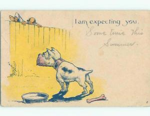 Pre-Linen comic DOG SEES INTRUDER COMING OVER WALL k3754