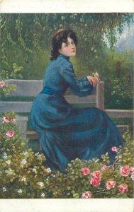 Postcard Painting artist signed Toute seule