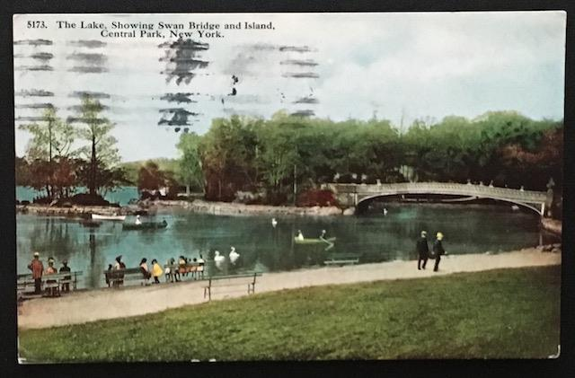 The Lake Showing Swan Bridge and Island Central Park New York 1914 HH T Co 5173