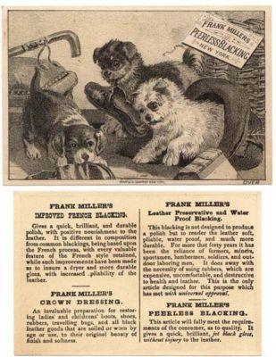 FRANK MILLER'S PEERLESS BLACKING,  Puppies, Trade Card