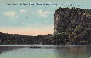 Castle Rock And New River, Canooing, Scene On The Norfolk & Western R. R., Vi...