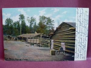 Old postcard  1906 Logging Camp ME