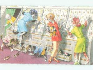 Pre-1980 Mainzer Cats - Printed In Belgium SHOPPING FOR GREETING CARDS AC6707