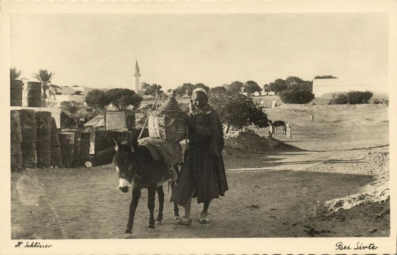 libya, SIRTE SYRTE, Native Man & Donkey, Mosque Islam (1940s) H. Schlösser Photo