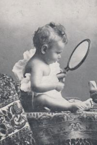 Mirror Mirror On The Wall Child Playing Hair Quiffed Postcard