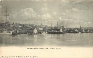 Vintage Postcard Seattle WA Waterfront Looking South Lowman & Hanford S.& P. Co