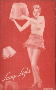 Nude Sexy Showgirl Pin-Up Exhibit Mutoscope Card RED TINT SERIES LAMP LIGHT