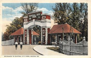 F33/ Macon Georgia Postcard c1910 Entrance to Central City Park