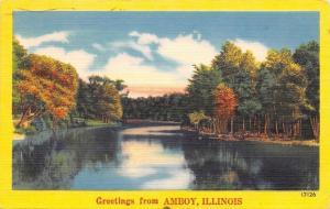 Amboy Illinois~Trees Along Green River Banks~Linen Postcard~1952 Postmark