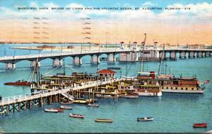 Florida St Augustine Municipal Dock and Bridge Of Lions 1946