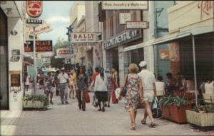 Curacao Street Scene Stores & People - Postcard