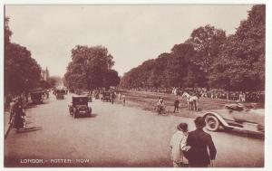 P880 old view card london,- rotten row old cars people etc great britain
