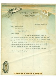 1918 Falmouth Garage & Tire Co. to Mrs. Max Ginsberg 11/26/18 Letter Head LH1.
