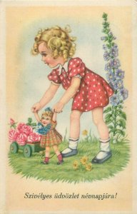 Hungary name day greetings postcard cute blonde girl with doll toy fantasy 1940s
