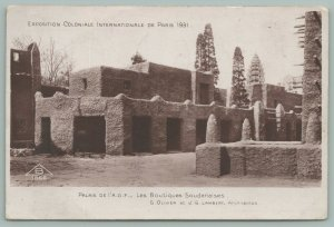 Paris France~International Colonial Exhibition~AOF Palace~Sudanesse Shops~1931