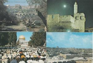 Jerusalem Praying At Dome Of The Rock Night Snow Christmas 4x Postcard s