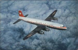 Swissair Swiss Air Lines Airplane DC-6B VINTAGE AIRLINE ISSUED Postcard