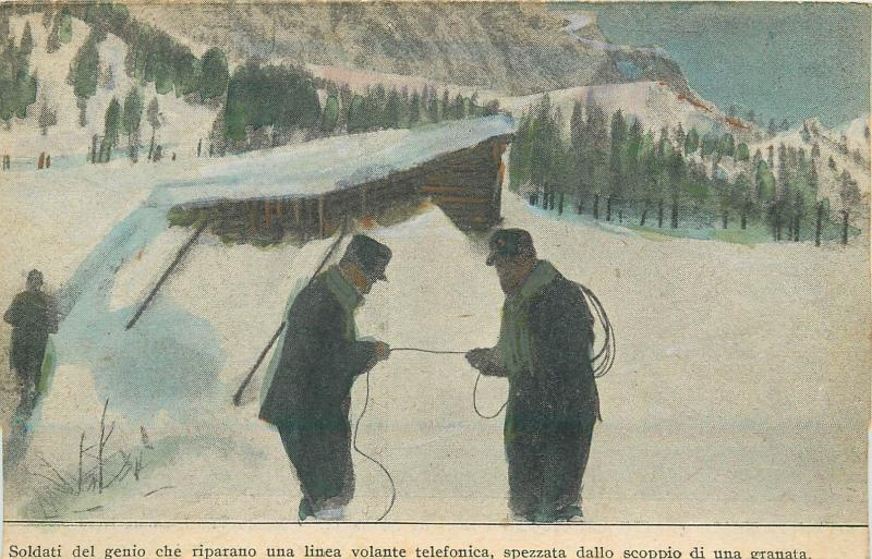Italian army history genius soldiers fix a telephone line