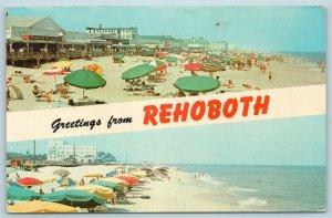 Postcard DE Rehoboth Beach Dual View Banner Greetings Boardwalk Hotels X5